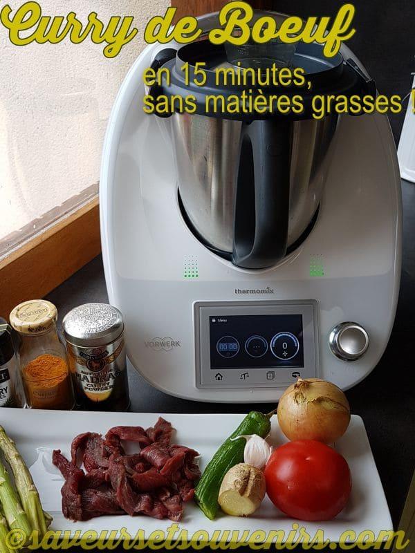 On prépare mon Curry de Boeuf sans matières grasses à partir d'ingrédients simples, frais et bons