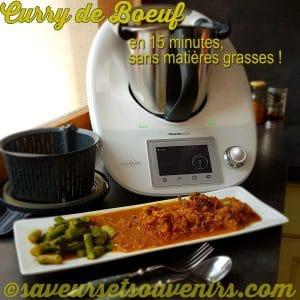 Mon Curry de Boeuf sans matières grasses se prépare au Thermomix en 15 petites minutes !