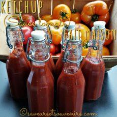 6 bouteilles de délicieuse sauce ketchup faites dans mon Thermomix